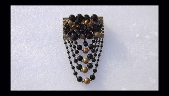 Louis Rousselet Poured Glass Brooch French Swag Pin Black Rose Beads Hand Wired Signed France Old Costume Jewelry