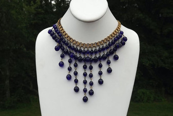 Early MIRIAM HASKELL Cascading FRINGE Necklace COBALT Blue BEADS Book Chain