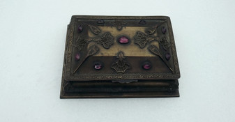 Antique La Tausca Jeweled Box Originally For Bridal Pearl Necklace Amethyst Glass Stones Brass Metal Message Inside
