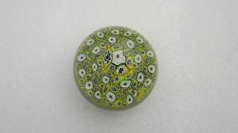 Vintage Art Glass Millefiori Densely Packed Paperweight  Yellow, Cobalt Navy Blue & Deep Aqua Turquoise Blue