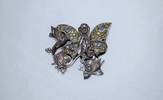 Vintage Kirks Folly Fairy Hummingbird Brooch Rhinestone Butterfly Snail Old Costume Jewelry ETOCJ