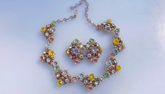 1950's Spectacular Enamel Flower Clusters Necklace Earrings Set AB Rhinestones Pastel  Colors Spring Garden Romance