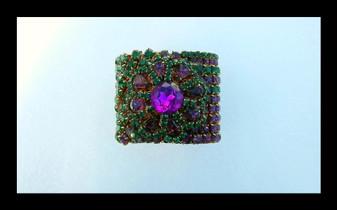 "Vintage Huge 2"" Wide Rhinestone Cuff Bracelet 1950's-70's Stage Jewelry Wendy Gell Style"