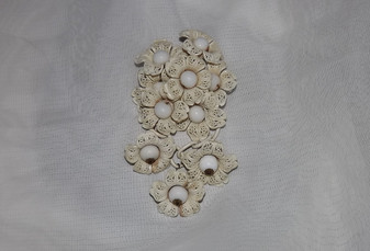 Rare Early Miriam Haskell Lacy Celluloid Flowers Brooch Milk Glass Beads Large Flower Cluster Pierced Back Old Costume Jewelry