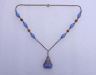 Blue Opal Chalcedony Lavalier Glass Beads Czech Necklace  Filigree Brass Beads & Pendant Setting Old Costume Jewelry