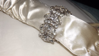 Vintage Wide Eisenberg Old Hollywood Rhinestone Bracelet Stunning 3D Unsigned Confirmed Old Costume Jewelry   Rare