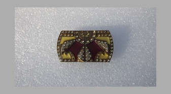 Vintage Art Deco Signed Catherine Popesco France Enameled French Brooch With Crystals