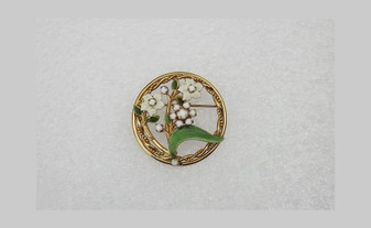 Vintage Alice Caviness Flower Brooch Enamel Flowers Leaves With Milk Glass Rhinestones Springtime Circle Pin