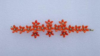Vintage Orange Plastic Flowers Bracelet 1950s Charm Bright  Color With Clear Rhinestone Accents old Costume Jewelry