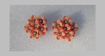 1950's Vintage Plastic Orange Flowers Clip Earrings  Lacy Petals AB rhinestone 2 Tone 3 Dimensional  Clip Ons