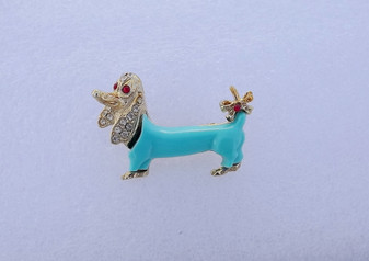 Vintage Pave Rhinestone Dachshund Brooch Thermoset Blue Body Red Bow Eyes 1950s Philippe Wiener Dog Puppy Adorable