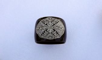 Art Deco Paste Stones Bangle Wide Black Plastic Bracelet Striking Statement Piece Ellen Originals Old Costume Jewelry