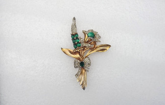 Vintage Art Deco Huge Flower Spray Brooch Unsigned Coro Blossom Spike Pave Rhinestones 5 Inch Long