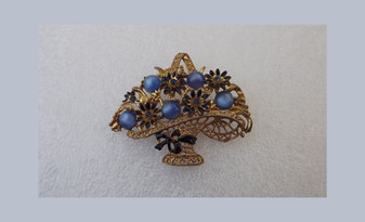 1930's Enamel Basket Brooch Moonglow Cabs Navy Blue Blooms Rare Design Deco Era