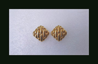 Vintage Ciner Earrings Unique Capsule Droplets Design Gold Plated Clip Ons 80's