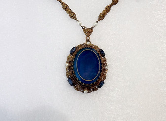1950's W Germany Lavalier Necklace Ornate Brass Metal With Huge Peacock Blue Glass Stone Cab Rhinestones Pearls