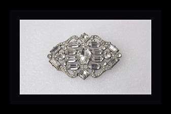 Gorgeous Large 30's Art Deco Brooch Huge Hexagonal Stone & Fancy Cut Glass Stones, Rhinestones
