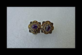 Striking Etruscan Style Czech Earrings Ornate Brass Purple Glass Cabs  Clip On