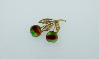 Vintage Austria Fruit Pin / Brooch Double Frosted Apple Green Red Glass With Filigree Leaves