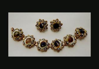 Vintage  Rare OPERCULUM Seashell Bracelet Earrings Set Ornate With Rhinestones GlassPearls Victorian Revival
