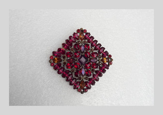 Art Deco Czech Brooch Pendant Jewel Tone Color Glass Stones  Rhinestones Gilded Gold Pot Metal
