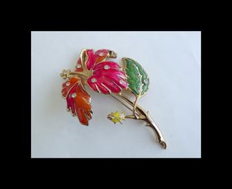 Vintage 1994 BARRERA For Avon Enamel Brooch Rhinestone Hibiscus Flower Statement Pin OCJO