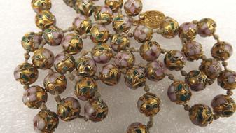 "Vintage Chinese Cloisonne Enamel Gold Gilt  33"" Pink Green Beaded Necklace Stunning Opera Length"