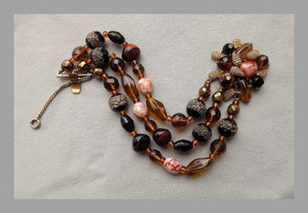 Gorgeous Schiaparelli Bracelet Iridescent Lava & Poured Glass + Fancy AB  Glass Beads  Autumn Colors 3 Strand Unsigned