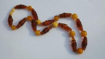 Art Deco Butterscotch Nugget Egg Yolk Amber Beads + Honey Amber Rondelle Beads Necklace
