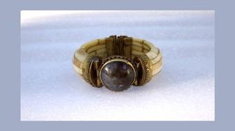 Vintage Huge Ethnic Bracelet Ocean Jasper Gemstone Bone & Brass Chunky Boho Statement Piece