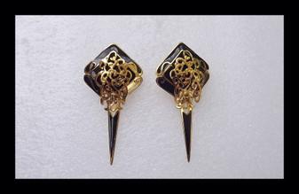 Vintage Edgar Berebi Black Gold Enameled Earrings Long Dangles