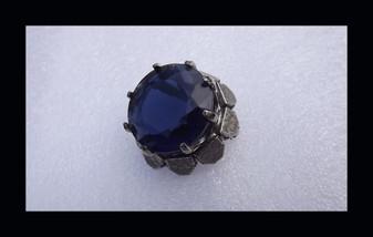 Vintage Sandor Brooch Huge Blue Glass Stone Antique Silver Tone Pin