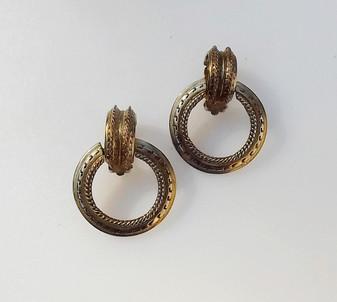 Vintage Oscar De la Renta Gold Tone Earrings Door Knocker Statement Clip Back Greek Design