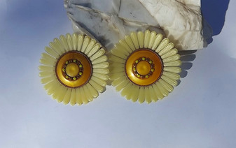 """1950's Huge Plastic Earrings Giant Yellow Sunflowers 3"""" Clip ons Runway Couture Spring Summer Jewelry"""