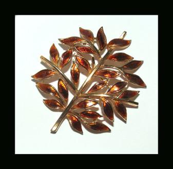 Alfred Philippe TRIFARI Enamel Leaves Pin Golden Burnt Orange Autumn Tree RARE Xmas Christmas Fall Brooch