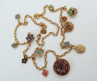 Joan Rivers Victorian Language of Flowers Necklace 13 Charms & Locket Romance