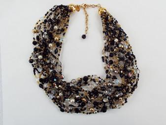Joan Rivers Torsade 16 Strand Necklace Glass Crystal AB Beads Jet Black Gold Silvered