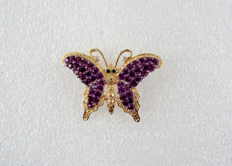 Vintage Rhinestone Butterfly Brooch Purple Rhinestones Gold Plated Sparkling Pin Old Costume Jewelry