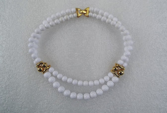 1980's Napier White Plastic Beads Necklace 2 Strand With Gold Accent Beads Elegant Clasp Summer Winter Jewelry