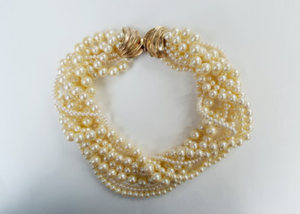 Gorgeous Glass Pearls Vintage Torsade Necklace 1960s Wedding Jewelry 8 strand Stunning Clasp