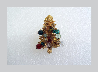 Austria Christmas Tree Brooch Dangling Glass Crystal Beads 3D Gold Plated Xmas Charm