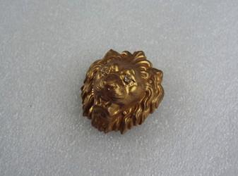 "Vintage Miriam Haskell Fierce Lion Head Brooch Russian Gold Finish  Rare Large 2"" w/ Rhinestone Eyes"