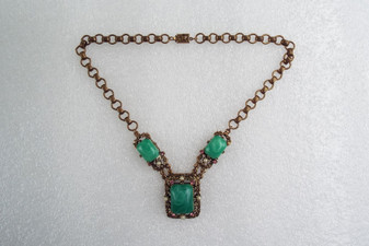 Vintage Ornate Selro Necklace Green Lucite Swirl Stones Pink Rhinestones Unsigned