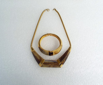 1960's Trifari Marbled Lucite Hinged Bangle Bracelet Bold Art Moderne Necklace Set Bakelite Style Plastic