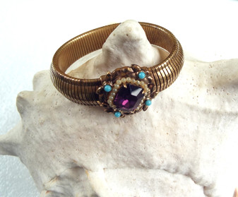 Rare 1940's Coro Bracelet,  Pegasus Mark, Purple & Turquoise Glass Stones, Faux pearls, Gold Over Brass Wide Stretch
