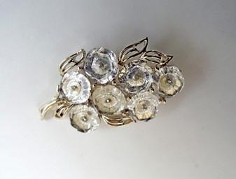 Vintage Coro Brooch Lucite Flowers  Rare Icy Cabochon Stones Tiny Rhinestones Unique