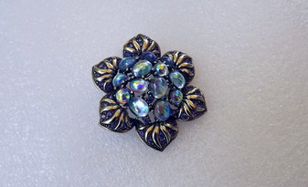 Joan Rivers Iridescent Flower Brooch AB  Glass Cabs Purple rhinestones Silver Flower Pin Gorgeous