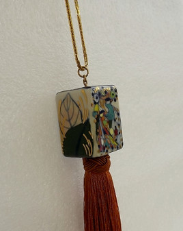 Silk Tassel Necklace, Long Boho Soutair, Hand Painted Glazed Porcelain, Jade Accent Bead, Vintage Gold Chain Ellen Original