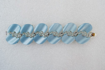 Huge Blue Thermoset Plastic Bracelet Silver Rhodium Plated Designer Unsigned Old Costume Jewelry