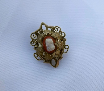 Antique Gold Filled Victorian Shell Cameo Brooch Miniature Pin Intricate Pearls Leaves Charming!